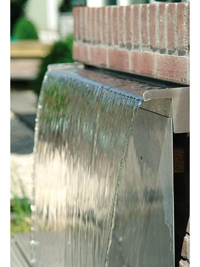 Wide waterfall from a brick wall Water feature - waterfall blade cascade       45cm wide Stainless Steel…