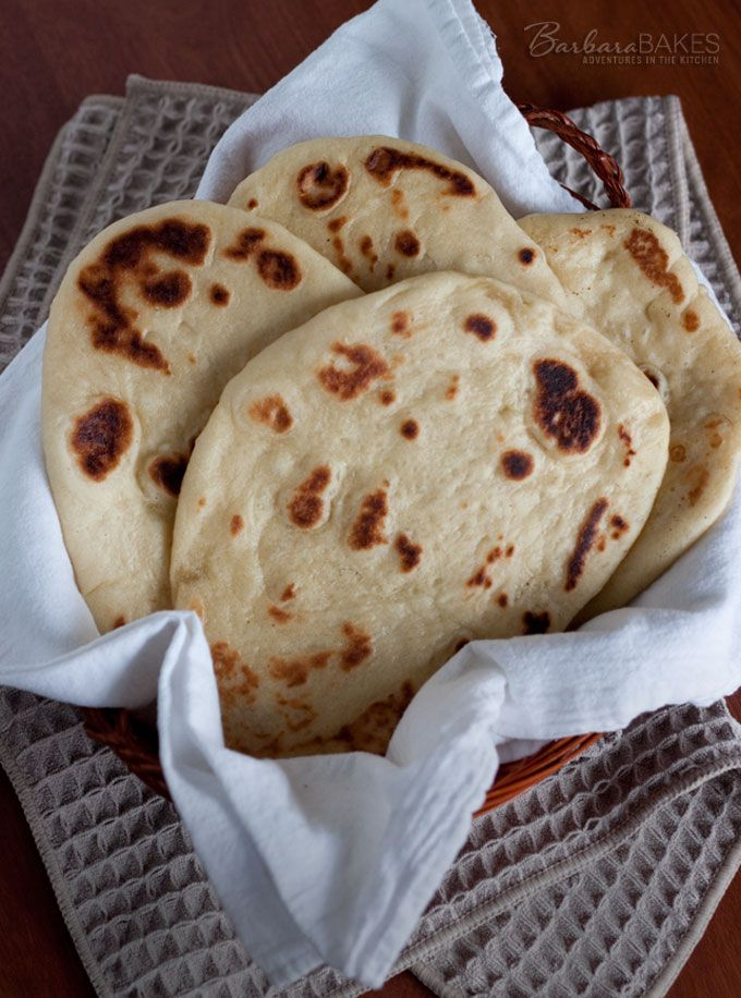 Naan, Indian Flatbread that is ready to eat, fresh and hot from the oven in about an hour @Barbara Schieving {Barbara Bakes}