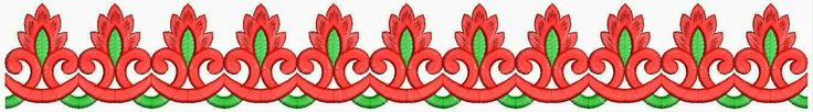 Red and green color combination freehand style of Lace