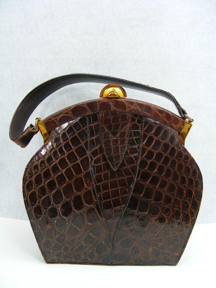 Vintage croc bag c. 1940