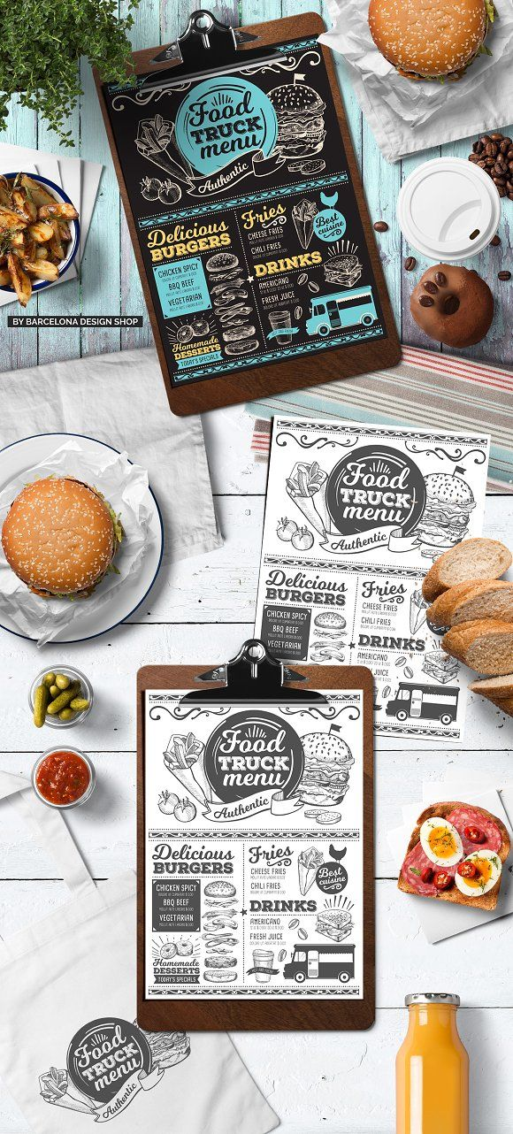 Food Truck Menu Template. FREEBIE: 100 Free Food Illustrations for your next design project here ➝ http://barcelonadesignshop.com/100-free-food-illustrations/. This free bundle include hand drawn graphic vegetables, fruits, desserts, drinks, berries, nuts.