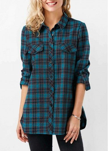 526a791cdb2 Plaid Print Roll Tab Sleeve Button Up Shirt on sale only US 31.58 ...