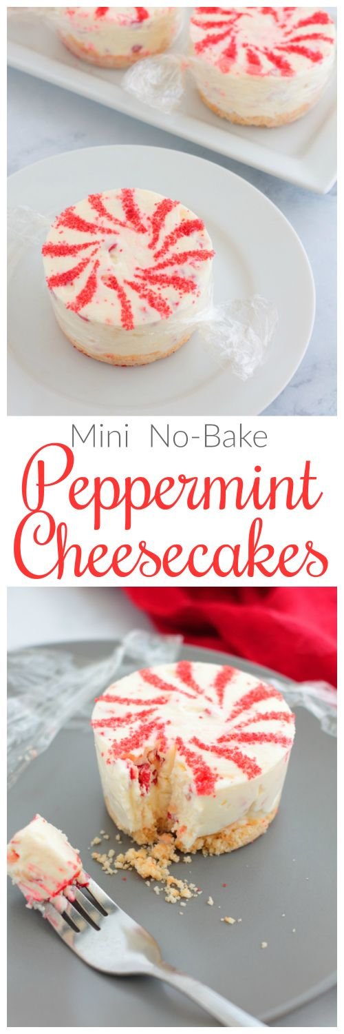 These adorable Mini No-Bake Peppermint Cheesecakes look just like starlight mints. They're perfect for a festive holiday event, but easy enough for anytime.