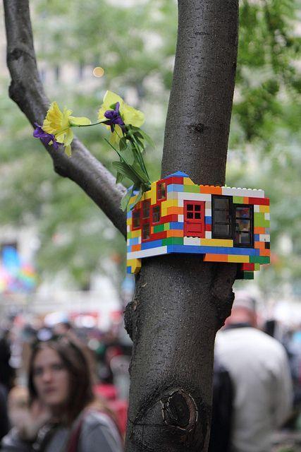 Lego tree house on wall street