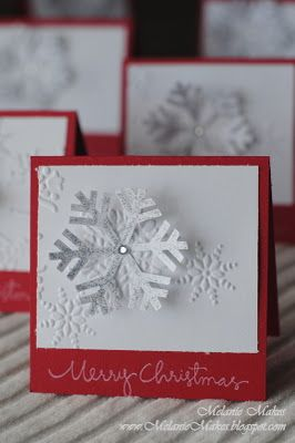 Christmas card ... beautiful pure white and true red ... clean presentation ... both embossed and die cut snowflakes ...