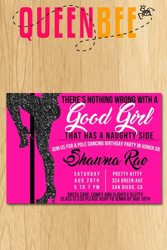 Dance Party Invitation Template Fresh Pole Dancing Birthday Party Invite With Free Game Card Dance Party Invitations Party Invite Template Pole Dancing