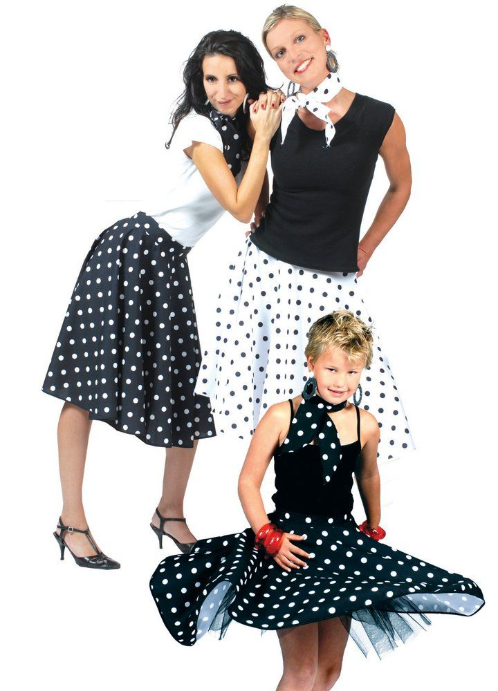 Adult Black/White Polka Dot Sock Hop Skirt - Candy Apple Costumes - Browse All Plus Size Costumes