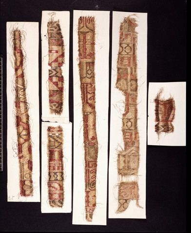 watercolor of silk fragments from the Oseberg burial.