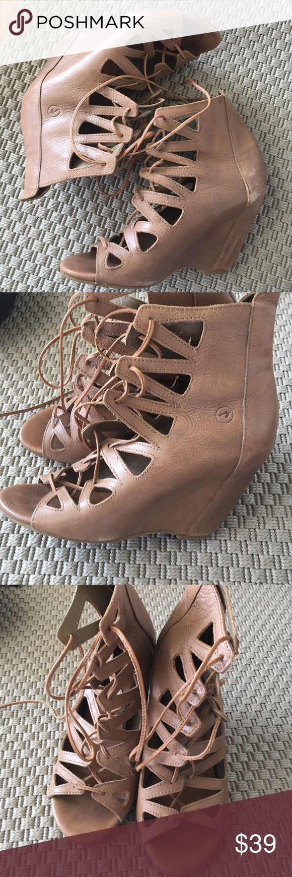 Bronx Lace Up Wedges Size 39 Neutral colored Bronx Lace up gladiators coveted by bloggers! Super comfy with covered wedges. Some toe marks and scuffs at heels. Super cute with floaty summer dresses! bronx Shoes Wedges