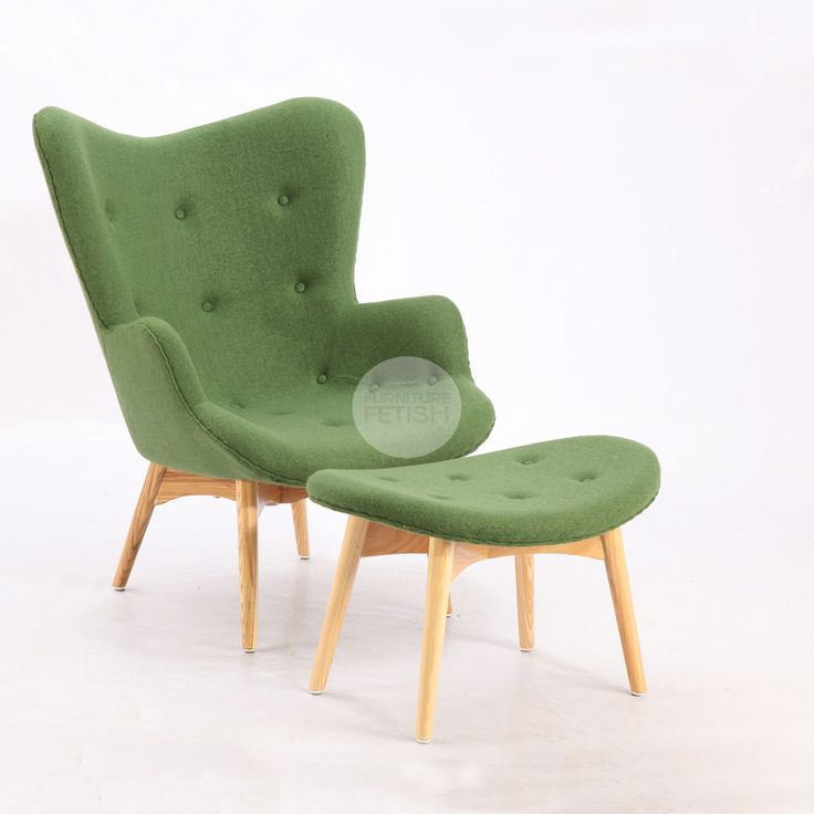 Replica Grant Featherston Chair & Ottoman - R160 Contour Chair Green