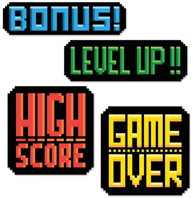 Amazon.com: Video Game Party 8-Bit Action Sign Cutouts: Home & Kitchen