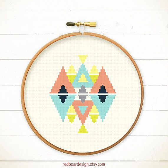 Modern Geometric Cross stitch pattern PDF - Play with Triangles -Xstitch Instant download - Funny Abstract Colorful triangle Less is more