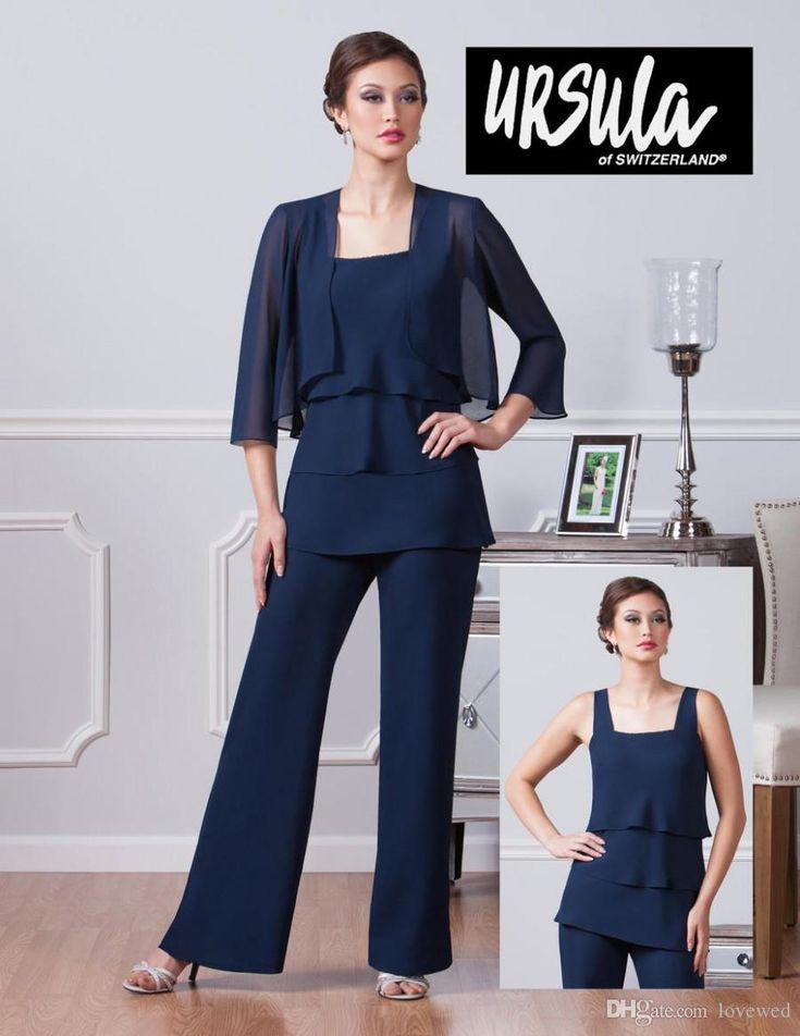 2016 Ursula 41410 Plus Size Wedding Guest Pant Set Navy Chiffon Three Pieces Mother Of The Bridal Pant Suit Mother'S Formal Wear Formal Dresses For Moms Joan Rivers Suit From Lovewed, $89.66| Dhgate.Com