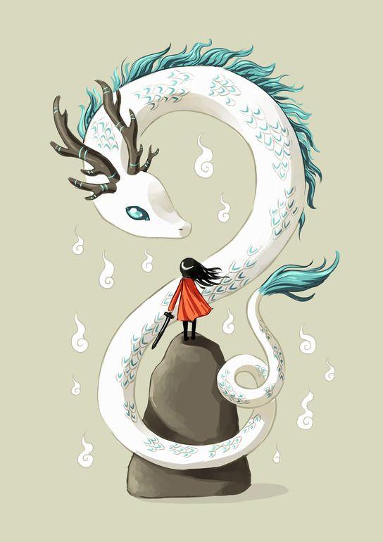 "Saatchi Art Artist: Indrė Bankauskaitė; Painting New Media ""Dragon Spirit"""