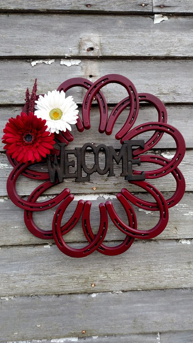 High-quality, handmade welcome sign made out of horseshoes to give your home a western flare. We will also work with you if you have a custom look you are wanting for your home. If none in stock it wi                                                                                                                                                                                 More