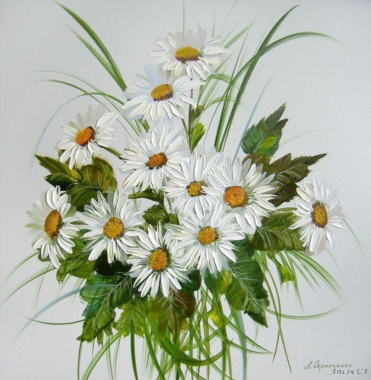 Картинки композиции цветов ромашки нарисованные, для мам подготовительная
