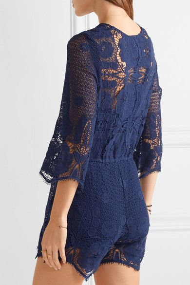Miguelina - Greta Crocheted Cotton-lace Playsuit - Storm blue - x small