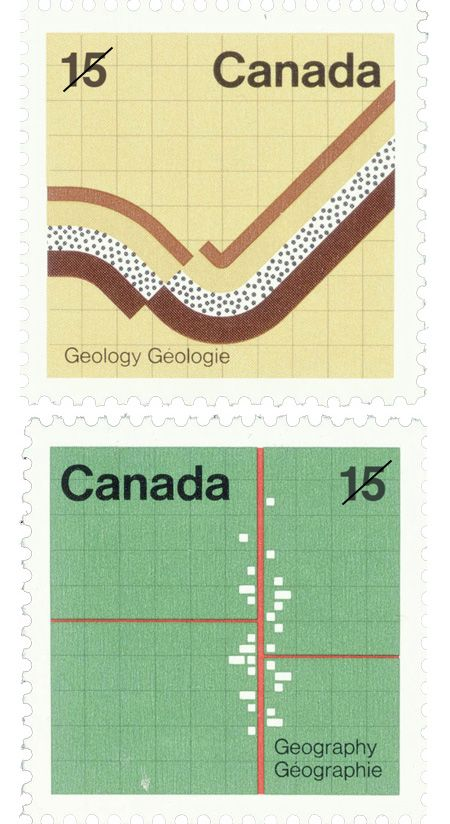 In 1973, Fritz Gottschalk designed these postage stamps for the Canada Post to celebrated the meeting of the main organizations involved in earth exploration.