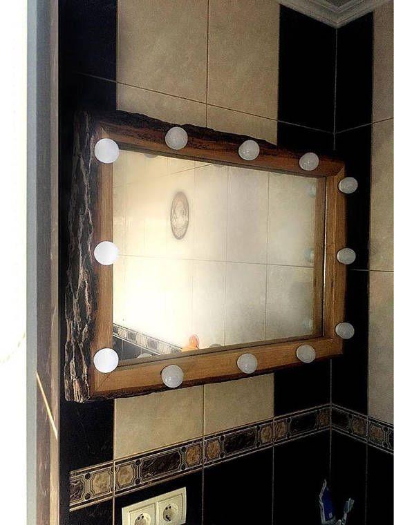 holz spiegel led fr make up beleuchtete spiegel spiegel mit beleuchtung led spiegel hollywood spiegel - Makeup Eitelkeit Beleuchtung Ikea