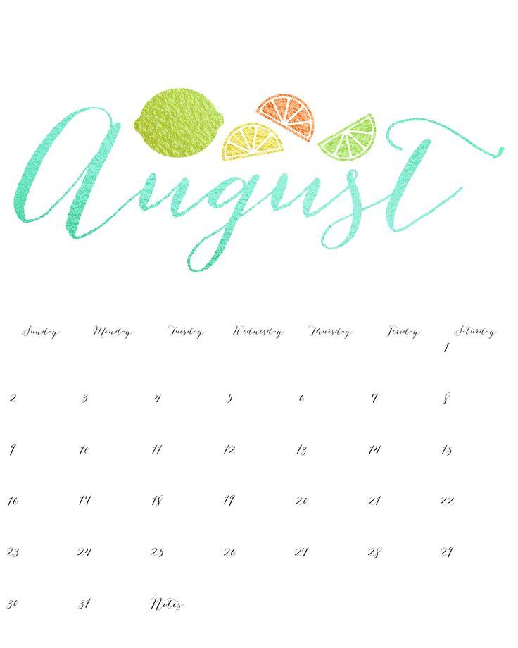 August 2015 Calendar Printable