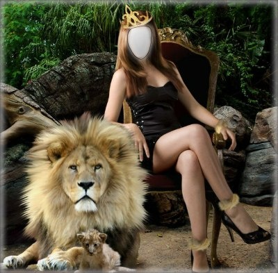 Beauty with A Lion And Cub. Click to add your own face to this! It's from Imikimi, a free and safe photo montage site. #lion #lioness #cub #princess #littleblackdress #stilettos