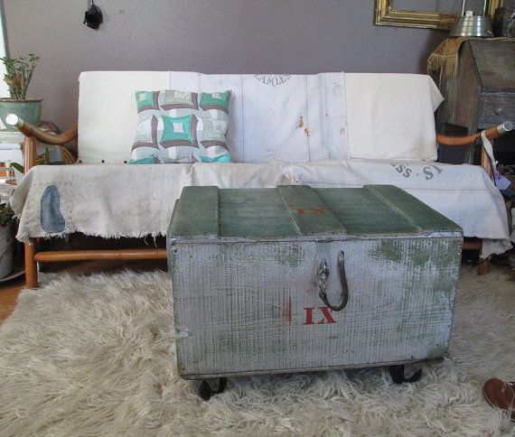Vintage Wood Chest Rolling Casters Coffee Table Trunk