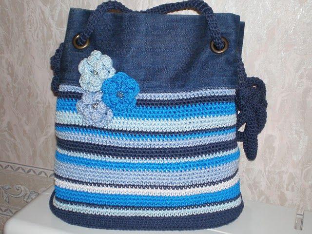 Nice bag using crochet and old denim