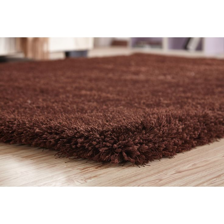 Handmade Brown Shag Area Rug (4' x 5'4) (4x6 Plush area rug Brown) (Viscose, Solid)