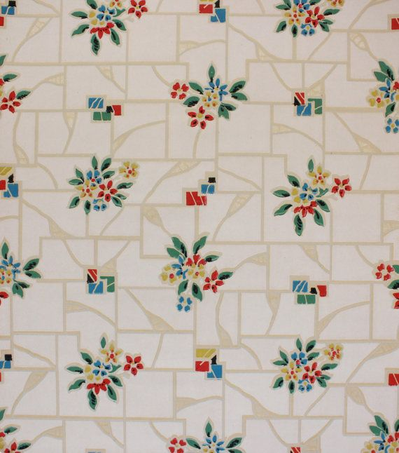 1930's Vintage Wallpaper Red Blue Flowrers Graphics on White Tile