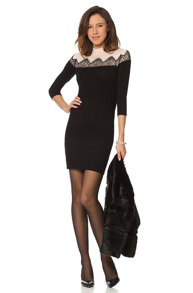 Pullover-Kleid mit Spitze