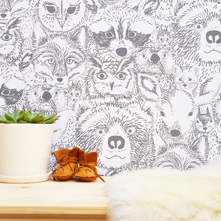 Wild Thing Removable Wallpaper | would look cute in a child's woodland or forest animals nursery