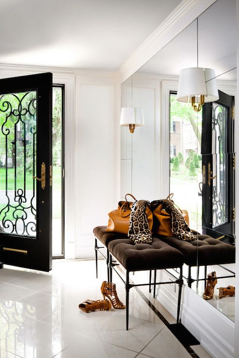 Brandon Barre Photography - entrances/foyers - iron and glass door, iron and glass front door, foyer mirror, entry mirror, floor to ceiling ...