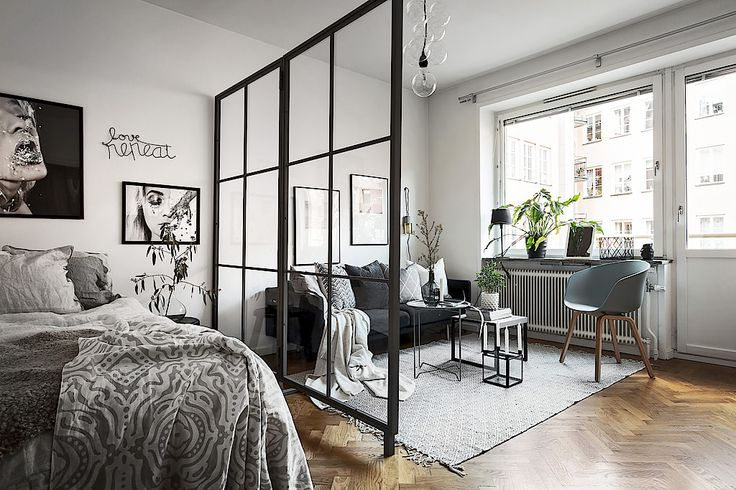 Studio apartment with glass dividing wall