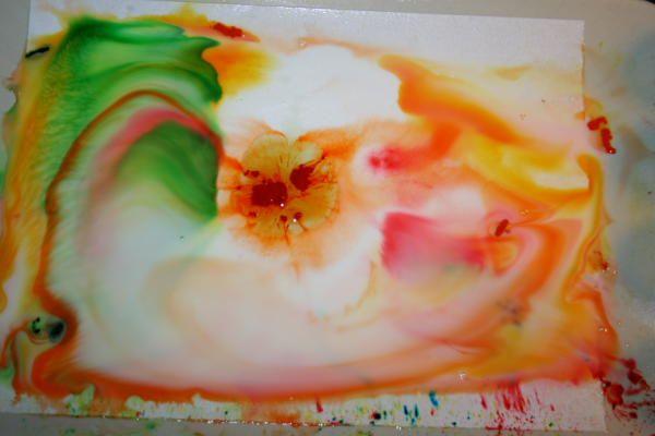 Esperimenti scientifici per bambini - esplosione di colori nel latte - Cosa serve: latte intero, un piatto, coloranti alimentari, detersivo liquido per ...