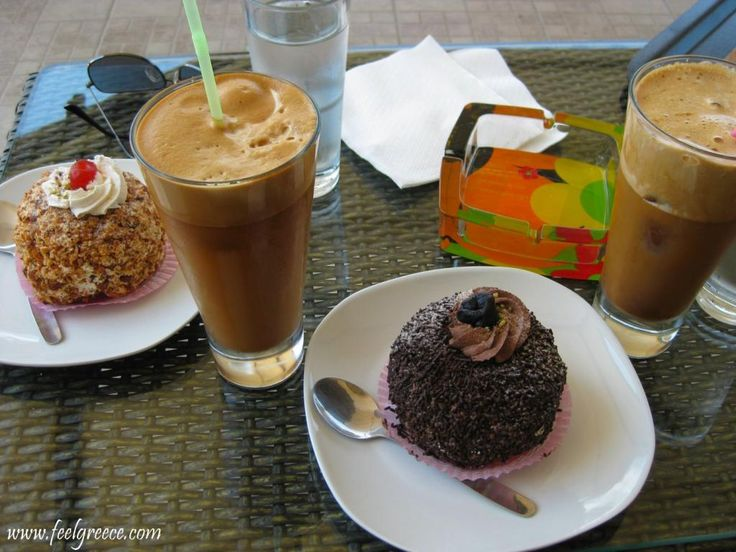 Greek frappe and sweets time!