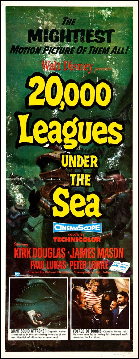 "20,000 Leagues Under the Sea (Buena Vista, 1954). Insert (14"" X  36""). Science Fiction."