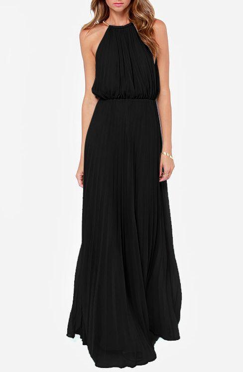 Vestido largo plisado cuello Halter sin mangas-negro 18.89