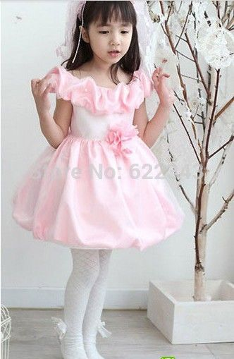 Cheap girl winter dress, Buy Quality dress up for girls directly from China girl child dress Suppliers: Little Girls Evening Gowns Baby Girl Wedding Dress 2014 Pink First Communion Party Frocks Knee Length With Fold Collar