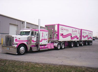 Awesome story about a husband that made his truck into a mobile breast cancer awareness billboard.