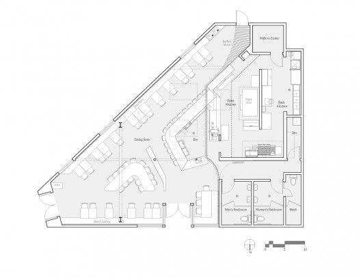 Maximiliano Restaurant /  Floor plan    Architects: FreelandBuck  Location: Los Angeles, California, Project Area: 2,200 sqf
