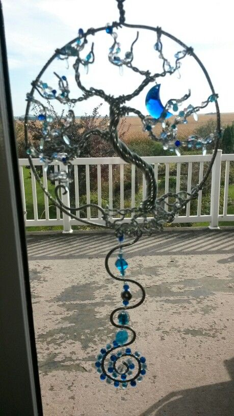 Wire wrapped beaded sun catcher, frozen Tree of life, with blue crystal moon.