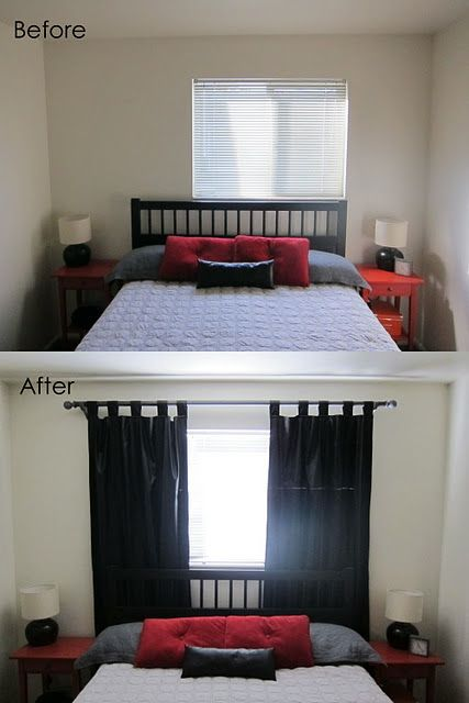 If you are like me, you like symmetry.  If you like symmetry, having a window as shown in the top photo can provide more irritation than you'd like to admit.  Luckily, there is no law against hiding it by centering your window treatments within the room and not over the window.