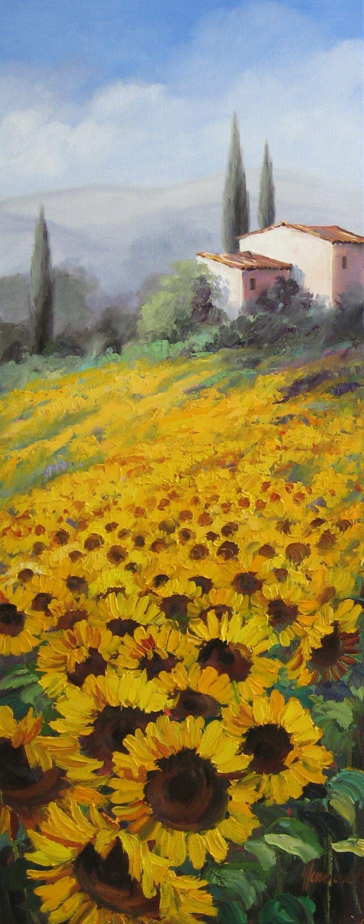Sonnenblumenfeld mit Haus und Zypressen in der Provence |  Ute Herrmann Künstlerin | Original Ölgemälde. www.ute-herrmann-kunstmalerin.de
