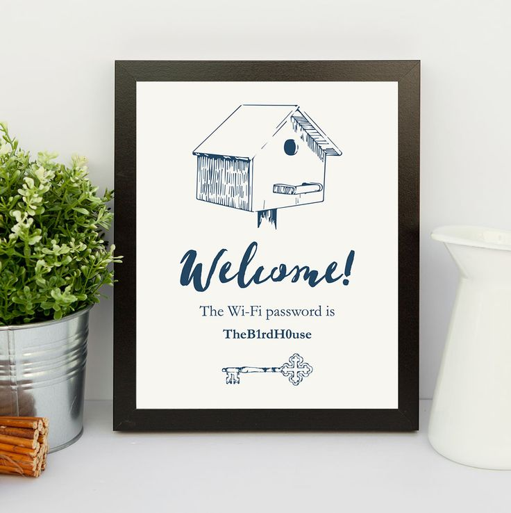 Printable WiFi password sign. Fill in your password on the PDF and print!