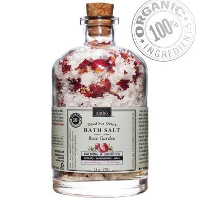 Organic Bath Salt - Dead Sea Detox spa - Rose (13oz) by Antho Organic. $21.95. Premium USDA certified organic essential oil of palmarosa to moisturize & scent your skin, soothe your senses, de-stress and bring up happy thoughts. 99% USDA Certified Organic Ingredients. Recycled apothecary glass - luxurious, elegant, eco friednly & classy gift. No chemicals, synthetic fragrances, cheap fillers and substitues - only USDA certified organic ingredients and genuine Dead Sea salt. L...