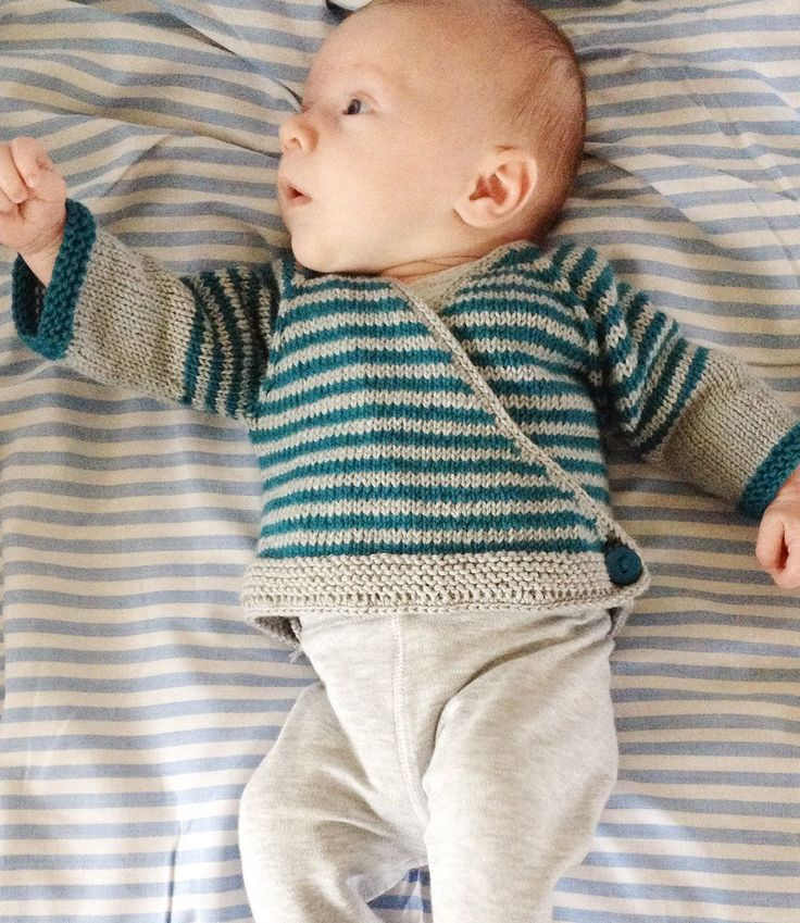 Free Knitting Pattern for Easy Striped Baby Cardigan
