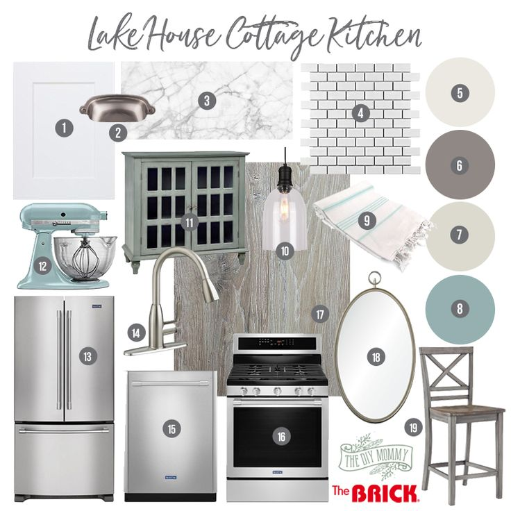 Classic lake cottage kitchen mood board in whites, greys and blues