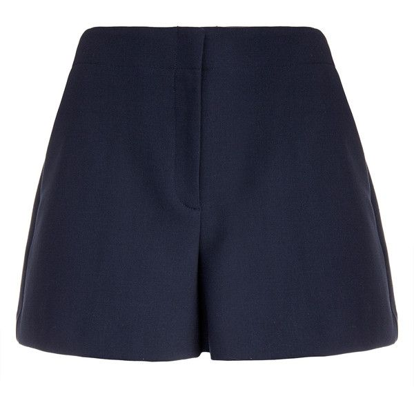 Theory Bonari Navy Wool Shorts ($120) ❤ liked on Polyvore featuring shorts, navy, high waisted shorts, tailored shorts, navy blue shorts, high-rise shorts and pocket shorts
