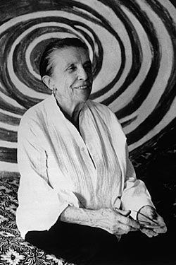 Met her once, wrote a profile of her.  Quite a piece of work, great artist! Louise Bourgeois by Robert Mapplethorpe