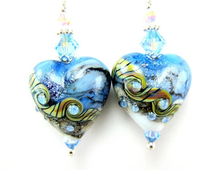 Ice Blue Heart Earrings. Etsy: Beads Earrings, Lampwork Earrings, Ice Blue, Beadwork Earrings, Heart Earrings, Dangle Earrings, Blue Heart, Earrings Blue, Blue Earrings